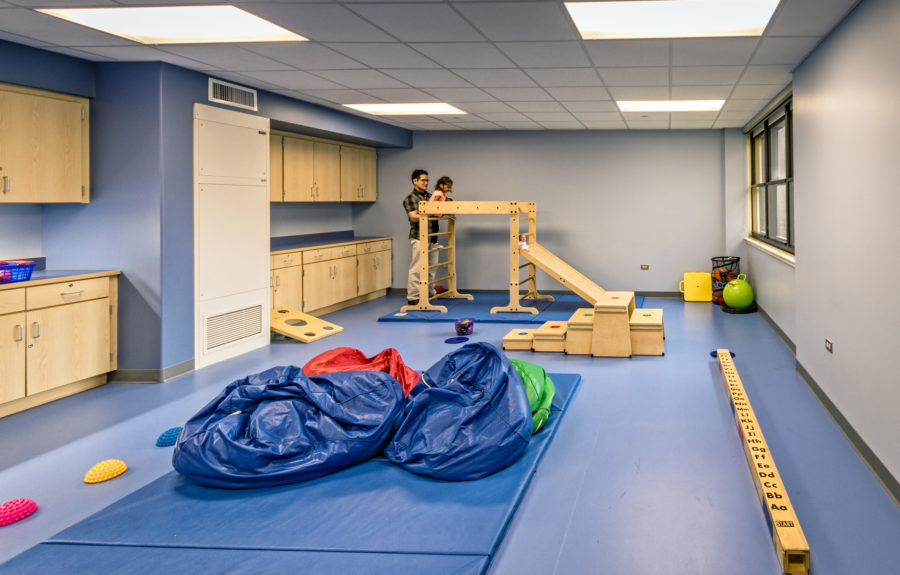 The Motor Skills Room is designed to meet multiple objectives depending on each student's needs, with equipment to help children develop large motor muscles and practice larger motor skills.
